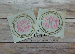Monogram Car Decal Circle Monogram Decal Vine Monogram Etsy