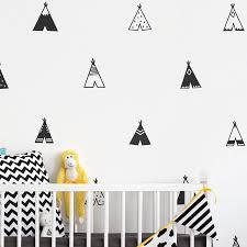 Nordic Style Teepee Vinyl Wall Sticker Nursery Decor Modern Kids Bedroom Wall Decals Cute Tribal Tents Art Decor Belecthleen