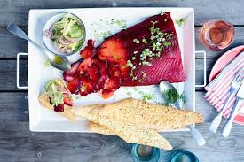 Beetroot cured salmon with cucumber and ...