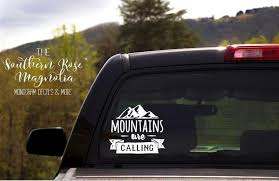 Car Vinyl Decal Mountains Are Calling Camping Decals Truck Etsy