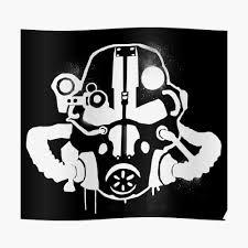 Armor Helmet Spray Paint Fallout Graffiti White Sticker By Surik Redbubble