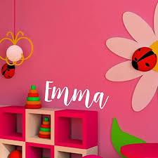 Amazon Com Vinyl Wall Art Decal Girls Name Emma Text Name 12 X 34 Girls Bedroom Vinyl Wall Decals Cute Wall Art Decals For Baby Girl Nursery Room Decor