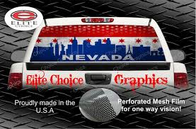 Nevada Skyline Grunge Flag Rear Window Perforated Wrap Graphics Sticker Decal Vehicle Truck Car