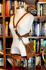 leather chest harness pouch with