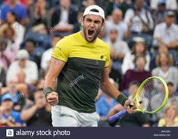 Italian tennis player Matteo Berrettini (ITA) celebrating his victory  during 2019 US Open tennis tournament, New York City, New York State, USA  Stock Photo - Alamy