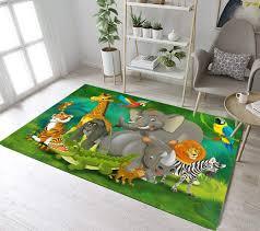 Amazon Com Lb Kids Jungle Animals Small Rug Doormat Play Mat For Kids Bedroom Nursery Room Soft Comfortable Memory Foam Flannel Mat 19 X 31 Inch Kitchen Dining