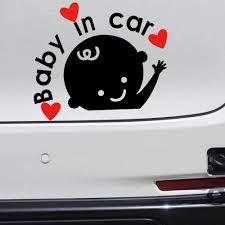 Amazon Com Biinfu Baby In The Car Sticker Personalized Infant Rear Window Cartoon Reflective Warning Paster Waterproof Sunscreen Car Sticker Black Automotive