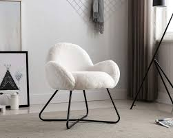 Amazon Com Guyou Mushroom Children Chair Upholstery Armchair Sofa Faux Fur Sofa Plush Furniture For Kids Room With Black Metal Cross Legs White Kitchen Dining