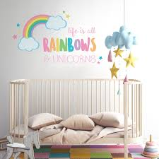 Amazon Com Life Is All Rainbows And Unicorns Wall Decal Girl S Room Decor Wall Stickers Baby