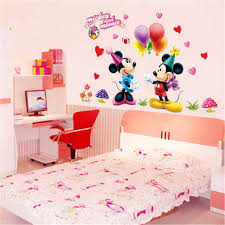 Cartoon Mickey Minnie Mouse Baby Home Decals Wall Stickers For Kids Room Baby Bedroom Wall Art Nursery Amusement Park Diy Poster Wall Stickers Aliexpress