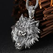 sterling silver wolf head necklace