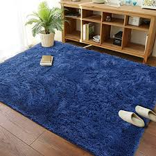 Amazon Com Modern Soft Fluffy Large Shaggy Rug For Bedroom Livingroom Dorm Kids Room Indoor Home Decorative Non Slip Plush Furry Fur Area Rugs Comfy Nursery Accent Floor Carpet 4x6 Feet Navy Blue Home