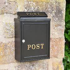 wall mounted post box gold text cast