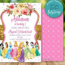 Invitacion De Cumpleanos De Princesa Disney Editable Descarga