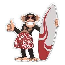 Monkey Surfer Funny Chimp 5 Vinyl Sticker For Car Laptop I Pad Waterproof Decal Walmart Com Walmart Com