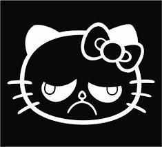 Grumpy Cat Decal Hello Kitty Sticker Sticky Addiction