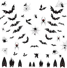 Amazon Com Halloween Bats Wall Decal Window Clings Sticker With Bats Spider Spiderweb Spooky Bats Sticker For Halloween Party Supplies 58 Pcs Arts Crafts Sewing