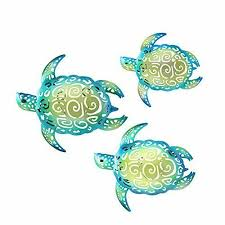 Youin Set Of 3 Metal Sea Turtle Beach Theme Decor Wall Art Decorations For In For Sale Online