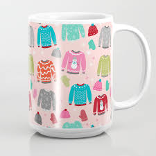 Sweater Weather Snow Day Cute Pattern Pink Kids Room Decor Gloves Mittens Beanie Hats Coffee Mug By Charlottewinter Society6