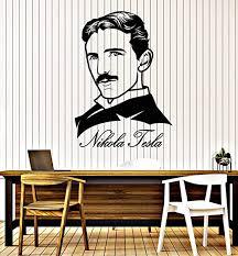 Amazon Com Vinyl Wall Decal Smart Clever Scientist Creator Portrait Nikola Tesla Stickers Mural Large Decor G3187 Black Home Kitchen