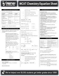 mcat chemistry equation sheet prep101