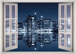 Amazon Com Manhattan City Night Lights Window 3d Wall Decal Art Removable Wallpaper Mural Sticker Vinyl Home Decor West Mountain W40 Medium 32 W X 23 H Home Kitchen