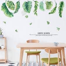 Large Tropical Green Leaf Wall Stickers Plants Wall Decal Etsy