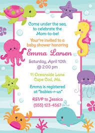Under The Sea Shower Invitation Girl Convite Fundo Do Mar