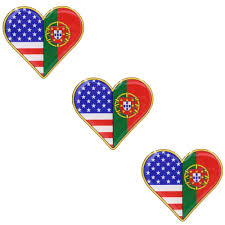 American And Portuguese Flag Heart Shape Resin Domed 3d Decal Car Stic Portugalia Sales Inc