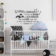 Joshua 1 9 Be Strong And Courageous Wall Decal Boys Forest Nursery Decor Explorer Wall Sticker Arrows Mountains Adventure D453 Wall Stickers Aliexpress