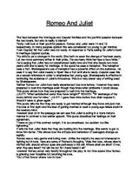 romeo and juliet the feud between the montague and capulet
