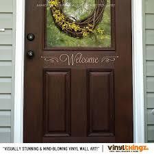 Wall Decals Front Door Home Welcome Vinyl Art 4 X By Vinylthingz 9 00 Front Door Decal Etched Glass Vinyl Door Decals