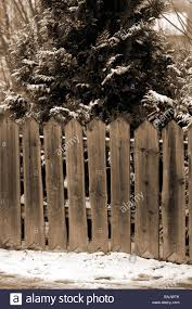 Wooden Picket Fence Fencing Snow Snowy Rural Countryside Wood Garden Stock Photo Alamy