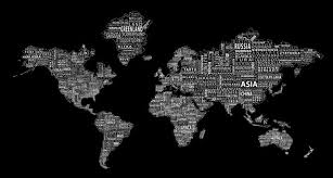 1 World Text Map Wall Decal White On Black Modern Wall Decals By 1 World Globes Maps