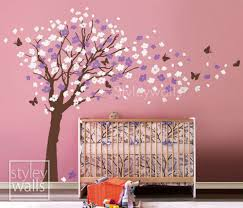 Flower Tree Wall Decal Tree Butterflies Cherry Blossom Decal Nursery Styleywalls On Artfire