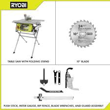 Ryobi 15 Amp 10 In Table Saw With Folding Stand Rts12 The Home Depot