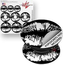 Decal Style Vinyl Skin Wrap 3 Pack For Popsockets Big Kiss Lips White On Black