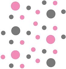 Pink Grey Vinyl Wall Stickers 2 4 Inch Circles 30 Decals Wall Decor Amazon Com