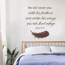 Battoo Large Wall Decals Psalm 91 4 Bible Verse Feathers Stickers Family Vinyl Religious Home Decor Wall Art Decal Wall Art Decals Large Wall Decalwall Decals Aliexpress