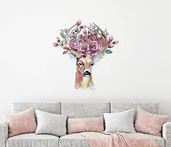 Deer Antlers Wall Decal Rustic Deer Flowers Wall Decor Full Wall Murals Bedroom Flower Wall Decor Coloring Stickers