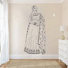 Beautiful Indian Woman In Saree Dress Wall Decal India Girl Wall Sticker Vinyl Home Decor Removable Wall Art Mural Hj897 Wall Stickers Aliexpress