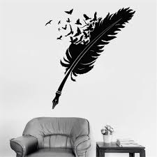 Amazon Com Vinyl Wall Decals Quotes Sayings Words Art Deco Lettering Inspirational Writing Pen Feather Birds Ravens Writer Living Room Bedroom Study Home Kitchen