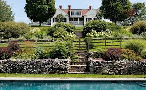 Split Rail Fencing Landscape Rustic With Cast Stone Outdoor Benches