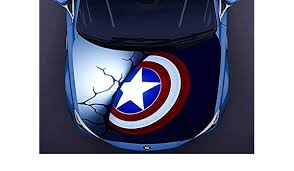 Auto Parts And Vehicles Vinyl Car Hood Full Color Graphics Decal Captain America Shield Throwing Sticker Car Truck Graphics Decals