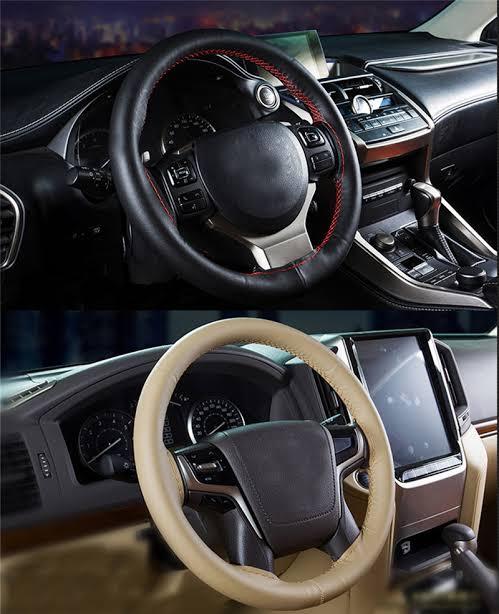 Cowhide Braid Car Steering Wheel Cover