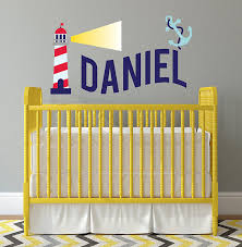 Amazon Com Nursery Custom Name Wall Decal Children Wall Decor Boy Name Light House Wall Art Nursery Wall Stickers Murals Home Decor Baby Boy Name Wall Decal Baby