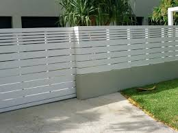 White Fence With Thick And Thin Panels 160 Per Metre Modern Concrete Wall Fence Design Modern Concrete B Fence Design Privacy Fence Designs Modern Fence Design