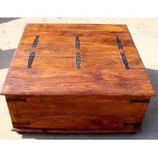 large square storage chest trunk wood