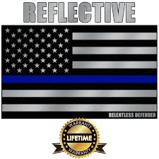 American Thin Blue Line Reflective Flag Decal 5 X3 Relentless Defender Apparel