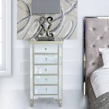 luxe mirrored 5 drawer tallboy chest